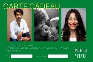carte cadeau pour une séance portrait avec VELVET Studio photo d'une valeur de 50 euros