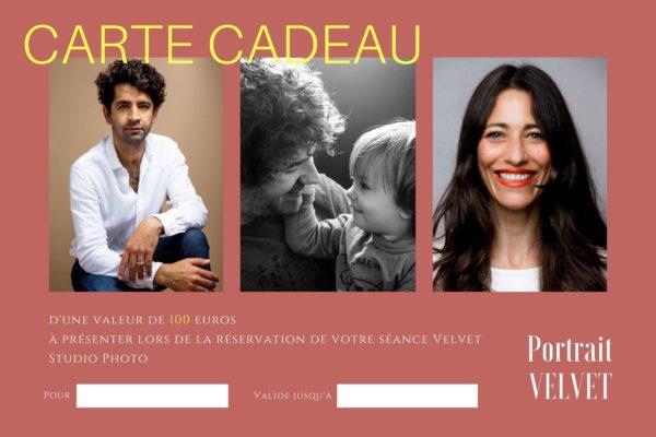 carte cadeau pour une séance portrait avec VELVET Studio photo d'une valeur de 100 euros
