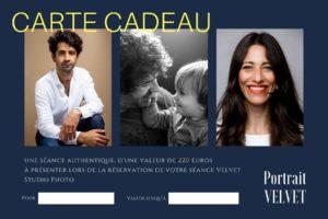 carte cadeau pour une séance portrait avec VELVET Studio photo d'une valeur de 220 euros