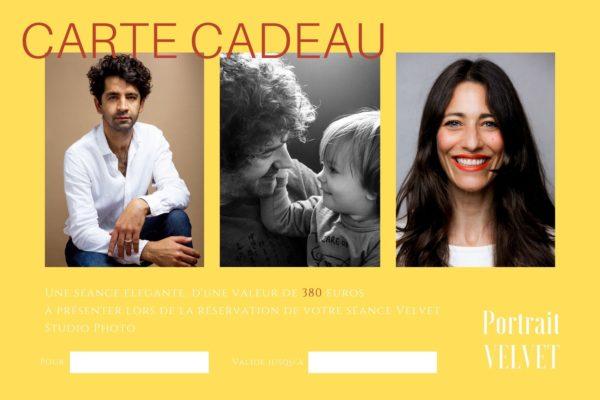 carte cadeau pour une séance portrait avec VELVET Studio photo d'une valeur de 380euros